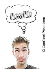 Young man thinks Health - Young white Caucasian male adult...