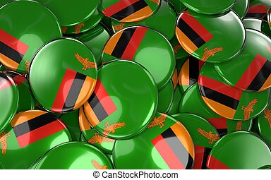 Zambia Badges Background - Pile of Zambian Flag Buttons. 3D...