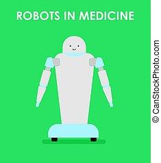Robots in medicine. Robot nurse. Flat vector illustration