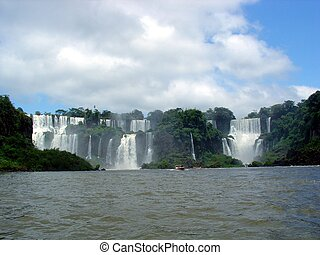 Falls between Brazil and Argentina - Iguazu falls panorama