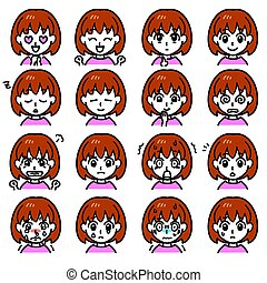 girl expressions 01 - young girl expressions, vector file