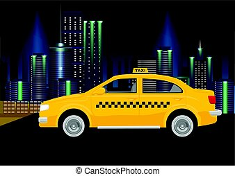 Taxi cab on backround of night city