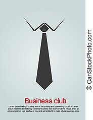 Flat illustration of necktie with white collar. Black on...