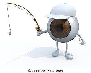 big eyeball with arms and legs and fishing pole on hand, 3d...