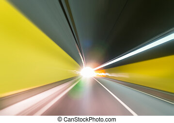 tunnel motion blur - tunnel background and exit to light...