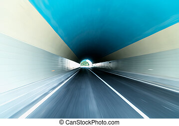 tunnel with speed driving motion blur