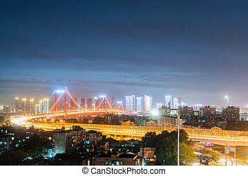 wuhan bridge night scene