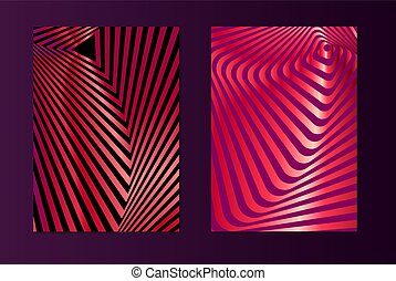 Pink opt art - Striped pink opt art. Geometric optical...