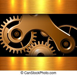 Background gold machinery cogs and gears, metallic vector...