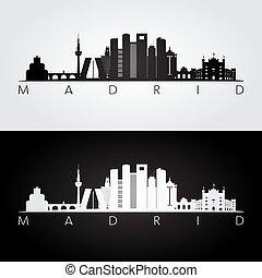 Madrid skyline and landmarks silhouette