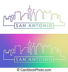San Antonio skyline. Colorful linear style. Editable vector...