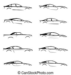 Set of a black slhouette car on white background. Vector...