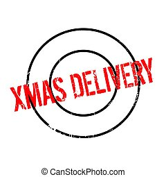 Xmas Delivery rubber stamp. Grunge design with dust...