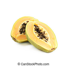 Papaya fruit cut in two halves isolated over the white...