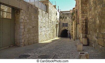 The Via Dolorosa is the narrow street inside the walled...