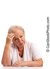 Tired woman - Portrait of sick aged woman touching head and...