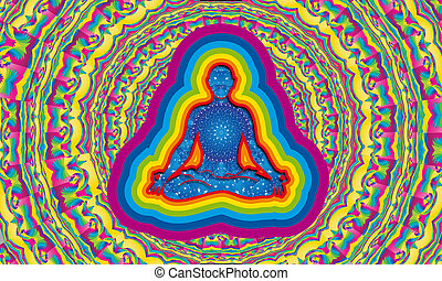 Silhouette of man with starry night inside doing yoga in lotus flower position with aura of 7 colors with multicolored mandala background