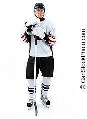 Ice-hockey player - Portrait of ice-hockey player with...