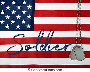 word soldier with military dog tags