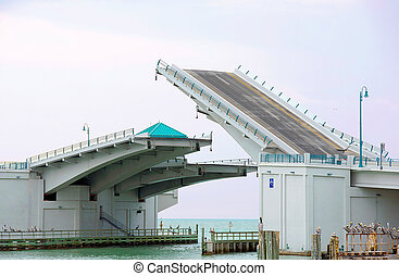 half raised drawbridge in Florida - raising drawbridge in...