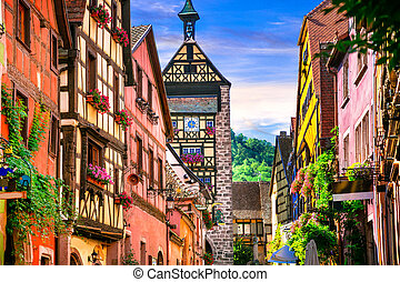 Most beautiful villages of France - Riquewihr in Alsace....