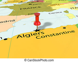 Pushpin on Algiers map background. 3d illustration.