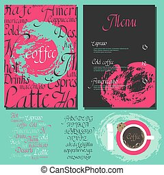 Kafe menu set - Coffee drink menu Set with cursive lettering...