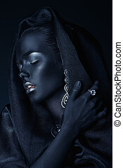 black skin beauty - Fashion jewellery concept. Portrait of a...