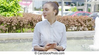 Young formal girl with smartphone - Pretty young girl...