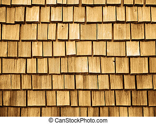 Wooden roof Shingles - Full framed view on wooden roof...