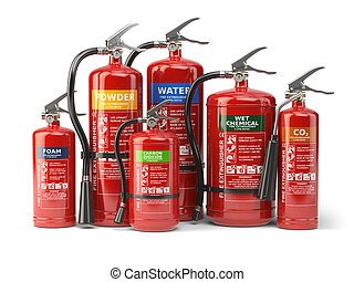 Fire extinguishers isolated on white background. Various...