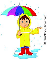 little boy in rain with umbrella