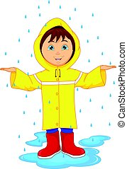 little boy in raincoat - vector illustration of little boy...