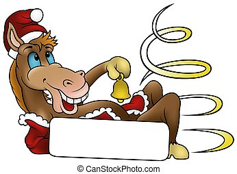 Christmas Horse 2010 - colored cartoon illustration