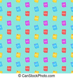 A pattern from programming languages. Colorful books. Colorful background for your projects. Php, html, java, css. Vector illustration in a flat style