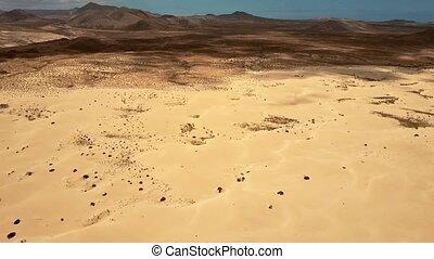 Flying over Corralejo Park, Fuerteventura, Canary Island -...