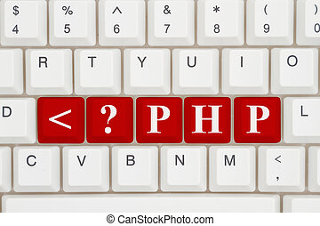 Computer coding with php, A close-up of a keyboard with red...