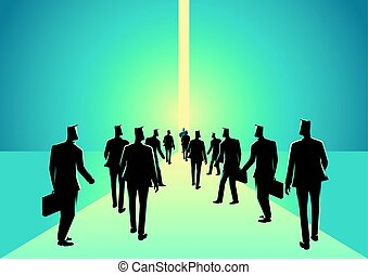 Crowd of people walking into narrow path - Business concept...