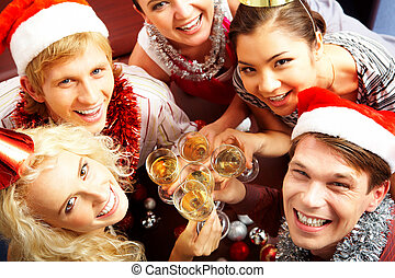 Party with friends - View from above of merry friends with...