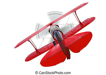 Red biplane rear view isolated - A red biplane, rear view...