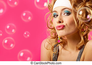 Coquette - Photo of happy girl on pink background with soap...