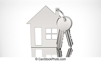 3D illustration gold key with keychain in the form of a small house