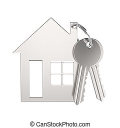 3D illustration silver gold key with keychain in the form of a small house