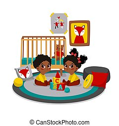 Characters in cartoon flat style. - Twins playing with toys...