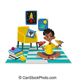 Characters in cartoon flat style. - Boy playing with toys at...