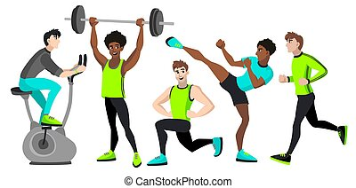 Fitness set with different men.