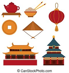 Chinese asian oriental decoration sightseeing festival gold...