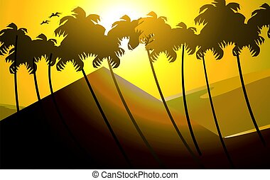coconut tree - vector of silhouettes of coconut tree on a...
