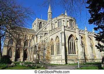 Peterborough Cathedral. - Rear view of Peterborough...