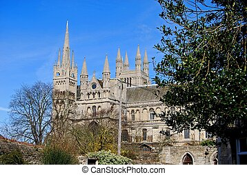 Peterborough Cathedral. - South side view of Peterborough...